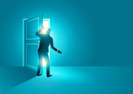 Business concept vector illustration of businessman peeked into a very bright room