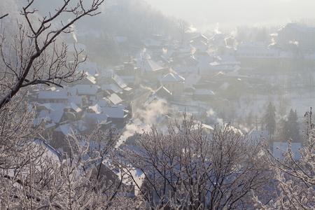 Winter in Stramberk city, Moravia, Czech Republic Stock Photo