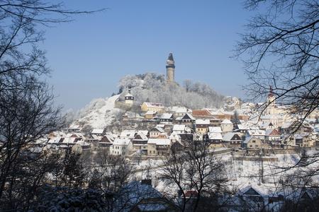 Winter in Stramberk city, little town in Moravia, Czech Republic