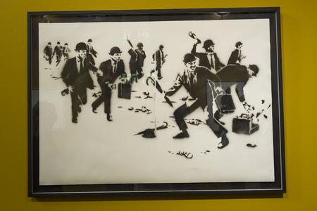 Amsterdam Nederland 23 July 2017: Moco Museum - Banksy Amsterdam Exhibition