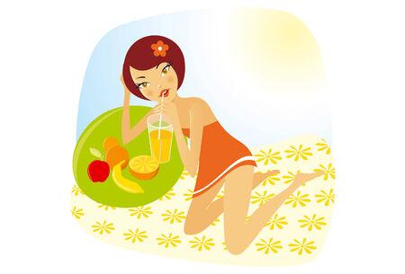 tomando jugo: la ilustraci�n de una bella muchacha de beber jugo