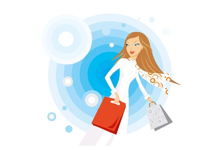stylish young woman making her shopping Illustration