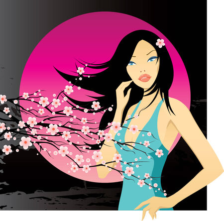 florescence: girl with blooming cherry twig Illustration