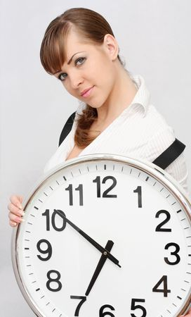 beautiful women with clock photo