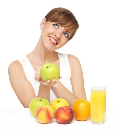 woman with fruits photo