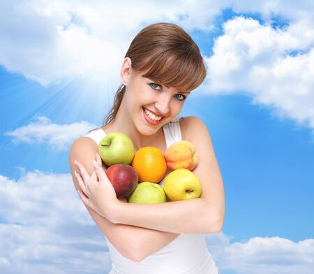 beautiful woman with fruits  photo