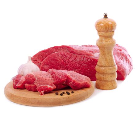 fresh beef on white background