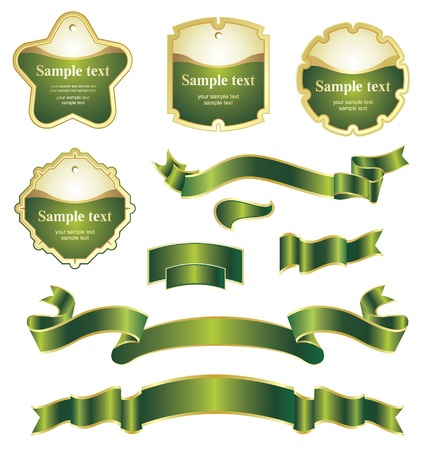 green and gold: set of design elements