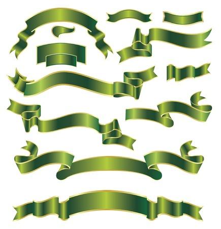 set of green ribbons Vector