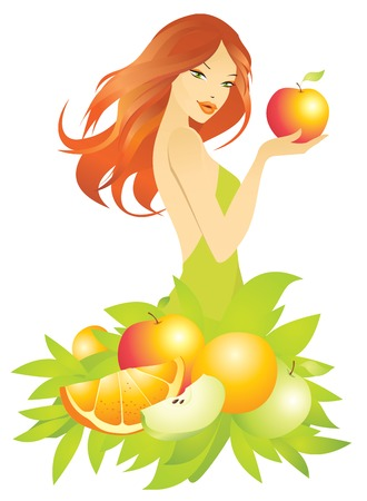 redhead woman: beautiful girl with apple
