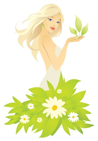 beautiful blonde girl with leaf Illustration