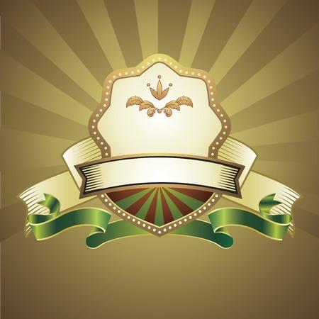 vintage emblem on gold background Vector