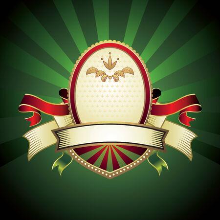 vintage emblem on green background Vector