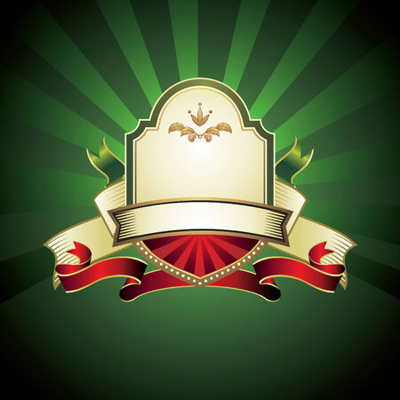 vintage emblem on green background Vector