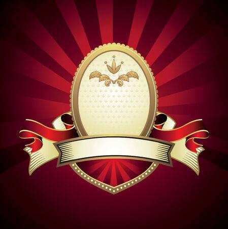 vintage emblem on red Vector