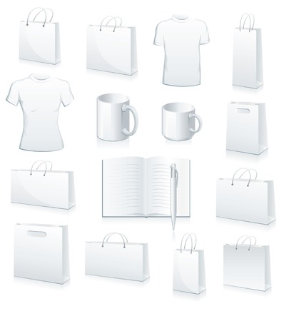 paperbag: white collection of shopping bags, football jersey, cup, book