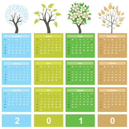 almanak: Kalender 2010 Stock Illustratie