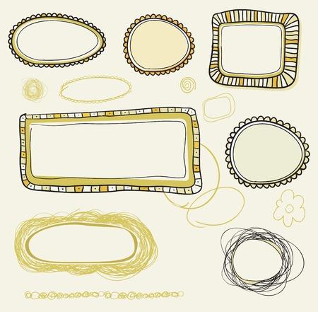 hand drawn vintage frames  Vector