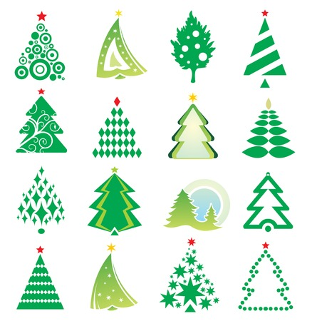 set of New Year firs Vector