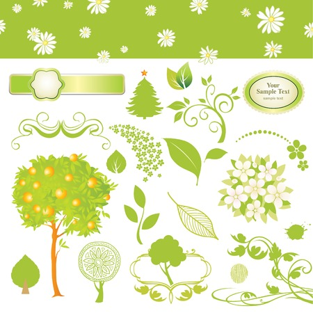 green collection of leaf and tree Vector
