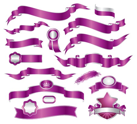 set of violet ribbon Stock Vector - 5759810