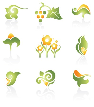 ecology emblem: set of design elements