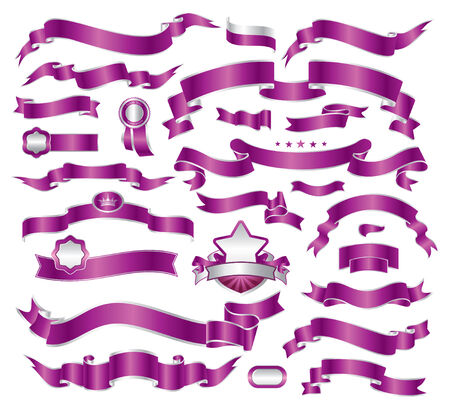 set of violet ribbons Vector