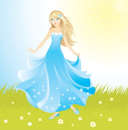 green dress: beautiful princess  Illustration