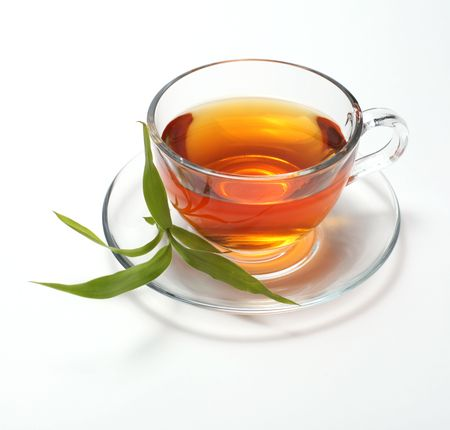 green tea leaves: cup with tea  Stock Photo