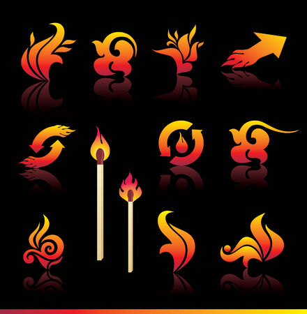 set of fire design elements Stock Vector - 6901929