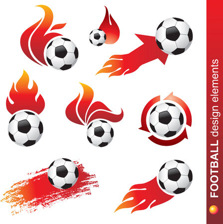 flame logo: football and fire design elements  Illustration