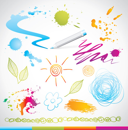 set of hand drawing design elements Stock Vector - 7753103