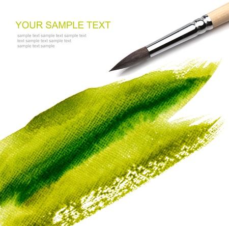 paleta de pintor: pincel y pintura verde cero
