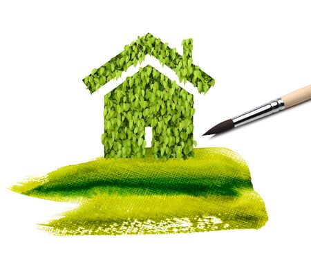 leaf home and paint green scratch Stock Photo - 8699555
