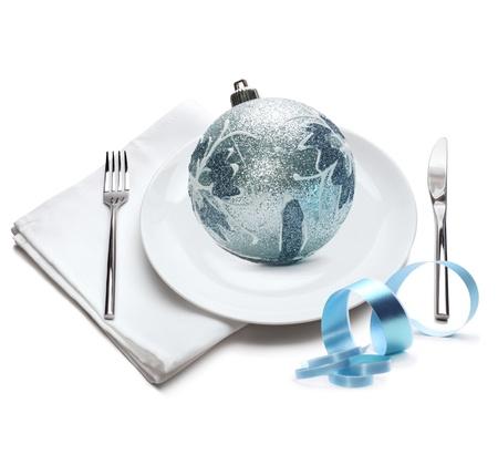 plate with christmas ball photo