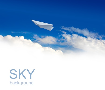 blue ray: Paper planes in blue sky