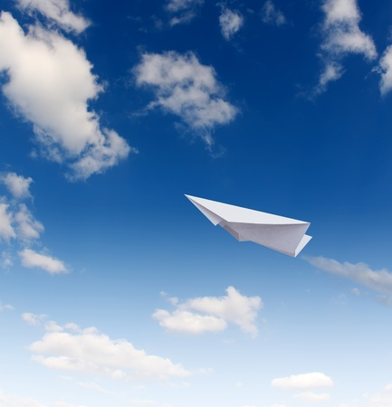 Paper planes in blue sky Stock Photo - 8355204