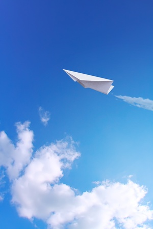 toy plane: Paper planes in blue sky
