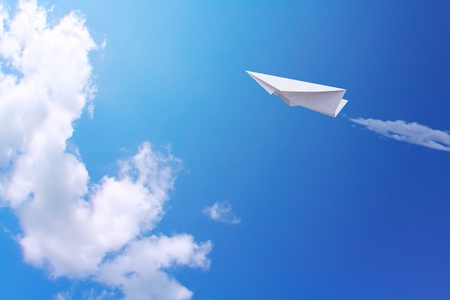airplane background: Paper planes in blue sky