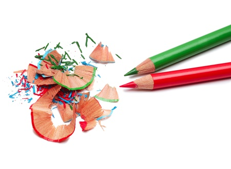 Color pencils and sharpener shaving photo
