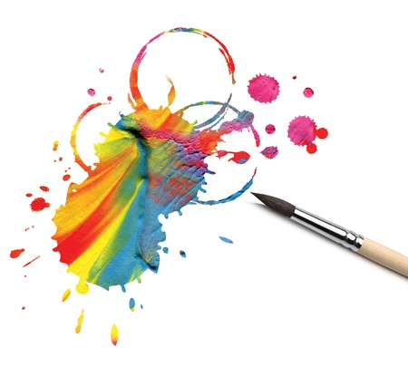 messy paint: artist brush and abstract paint blot Stock Photo
