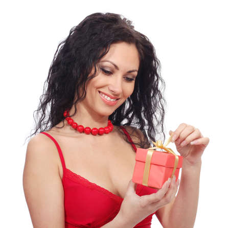 beautiful woman with gift box photo