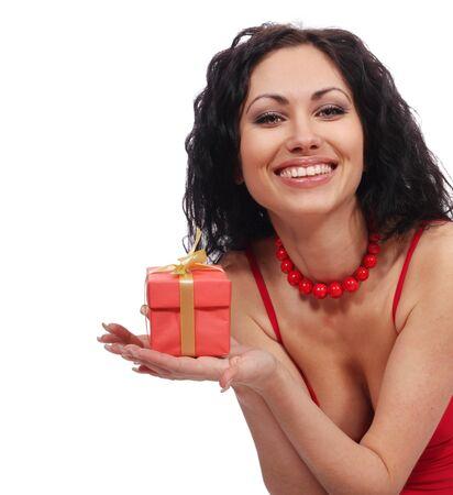 beautiful woman with gift box photo
