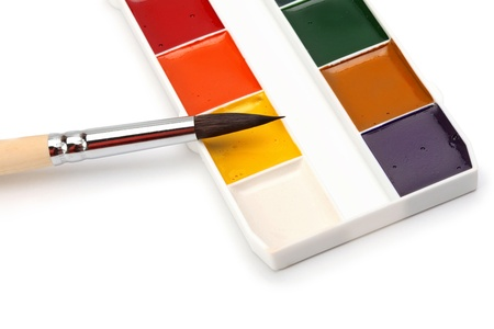 Paint palette and brushes photo