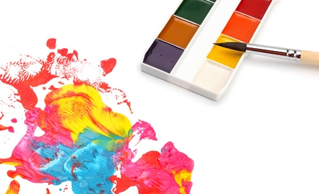 colors, brush and abstract acrylic paint  photo