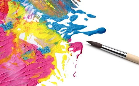 vibrant colours: artist brush and abstract acrylic paint Stock Photo