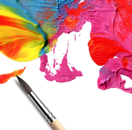artist brush and abstract acrylic paint Stock Photo