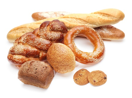 assortment of baked bread isolated on white  Stock Photo - 9072258