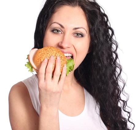 woman with hamburger photo