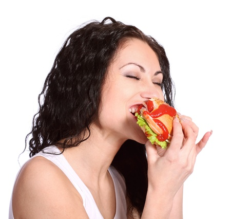 adult sandwich: woman with hamburger